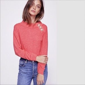 Free People Don't Forget Me Button Collar Top XS
